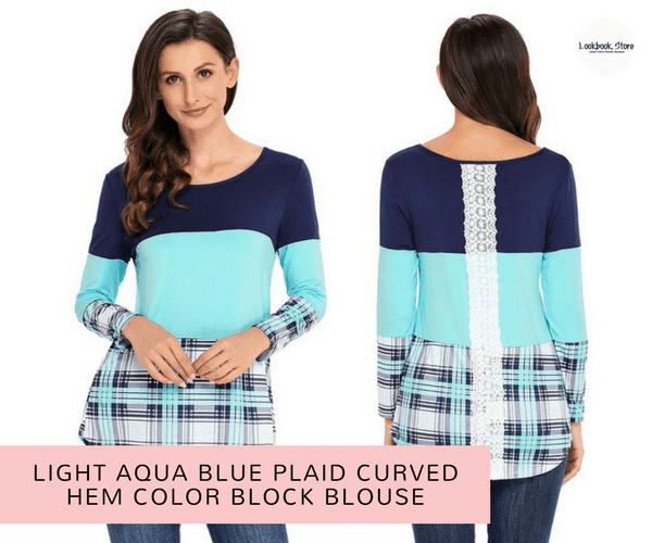 Light Aqua Blue Plaid Curved Hem Color Block Blouse | Lookbook Store