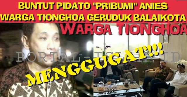Buntut Pidato Anies, Warga Tionghoa GERUDUK Balaikota, Gelar Jumpa Pers Untuk MENGGUGAT!