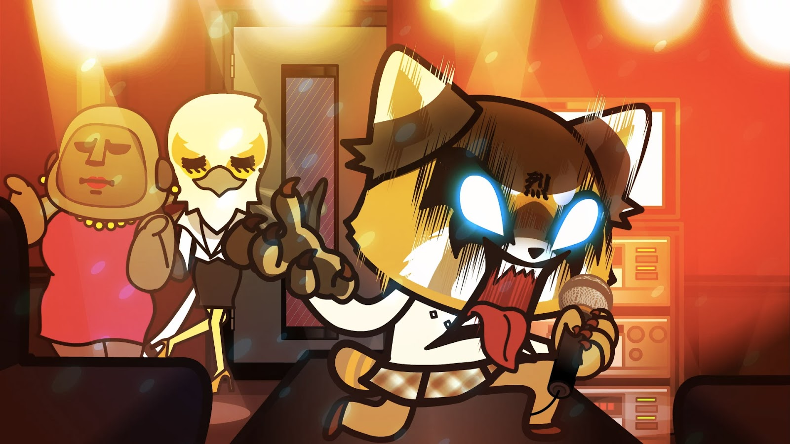 A cute, but angry, anime red panda is screaming into a microphone as an anime gorilla and anime bird watch.