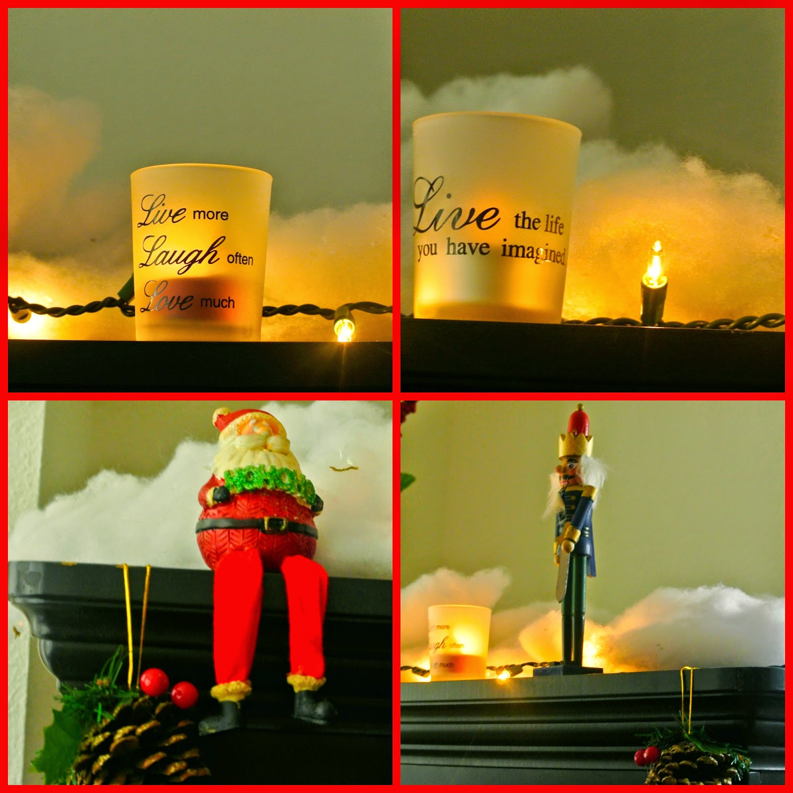 Santa, nutcracker man, candles