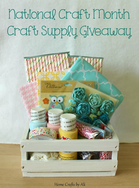National Craft Month Craft Supply Giveaway spring paint fabric paper straws stickers bakers twine washi tape paper flowers