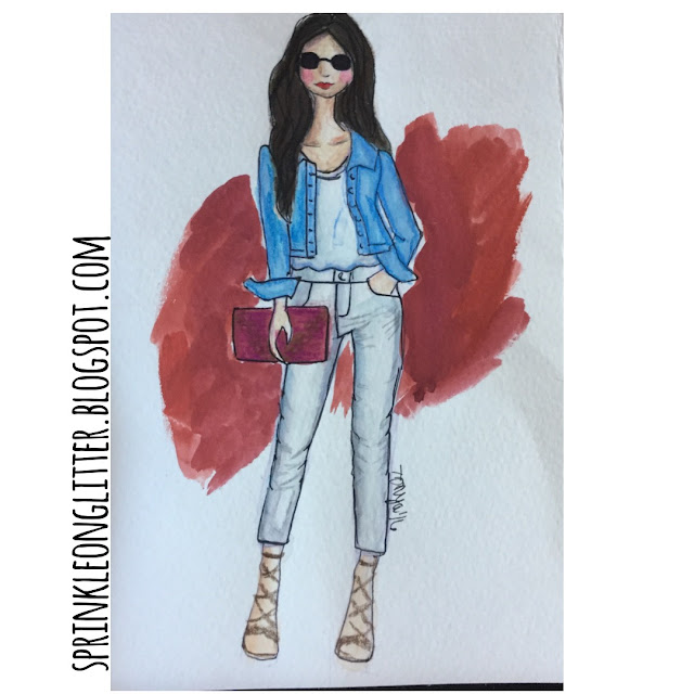 Sprinkle On Glitter Blog// Sketchworthy Readss-Pink Peonies// denim jacket