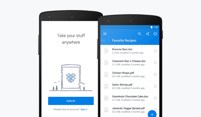Productivity mobile app dropbox