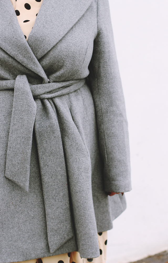 Plus size grey belted coat