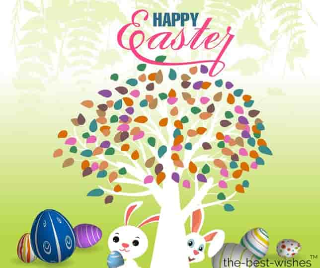 eggs bunnies tree easter wishes