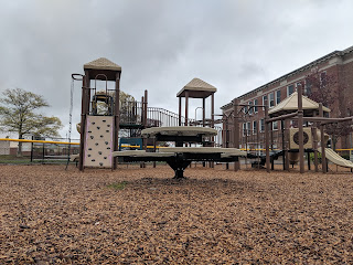 Davis Thayer playground in the rain