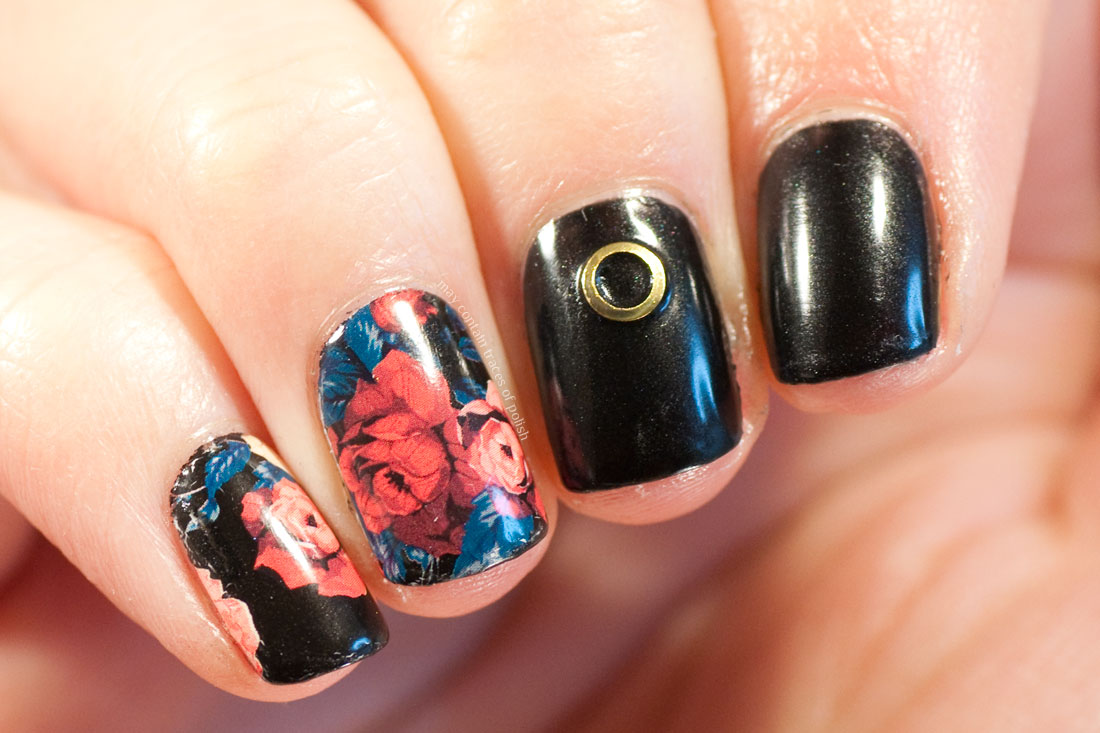 Black and Floral Skittlette Nail Art