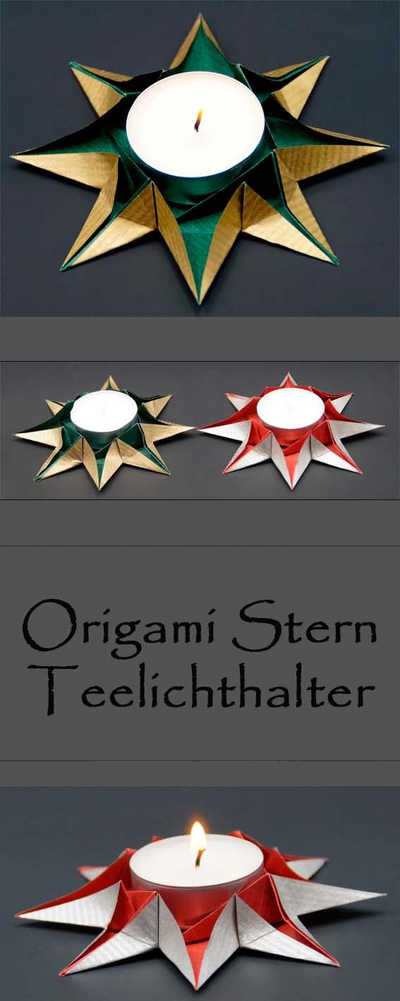 basteln und mehr origami sterne teelichthalter falten. Black Bedroom Furniture Sets. Home Design Ideas