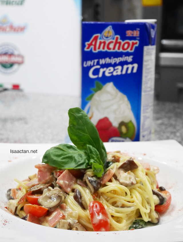 Basil Turkey Ham and Mushroom Alfredo