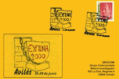 Tarjeta con el matasellos de la EXFILNA Avilés 2000