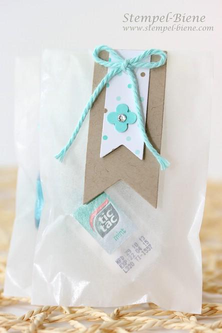 Kleine Tic Tacs als Goodie, dankeschön stampin up bestellung, Designerpapier im Block Frisch & Farbenfroh, Framelits Formen Banner