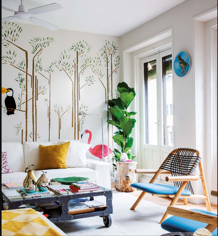A Bright and Cheery Living Room With a Jungle Theme