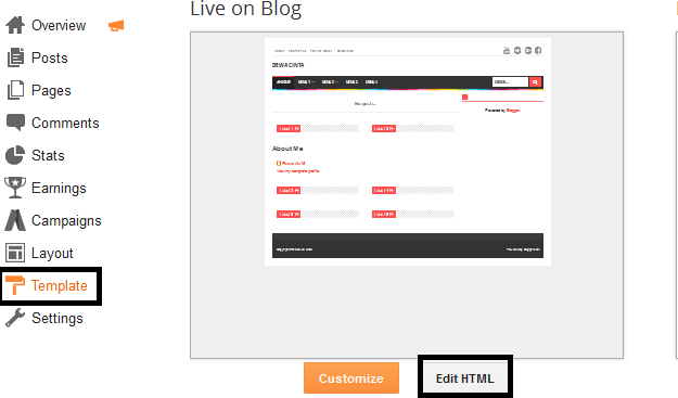 Cara edit menu template Evo Magz di blog Vol. 1_merubah nama menu