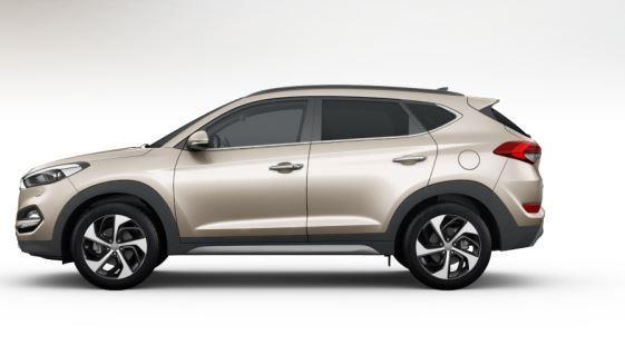 colori Nuova Hyundai Tucson 2016 Bianco Sabbia - White Sand profilo laterale di lato