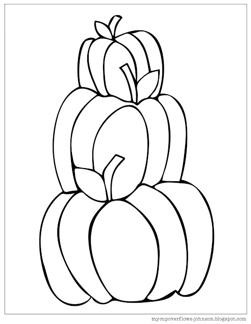 free fall coloring page of pumpkins