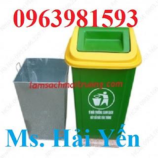 Thùng rác 90 lít, thùng rác nắp bập bênh, thùng rác công nghiệp giá rẻ