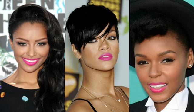 Hot Pink Lipstick on WOC Celebrities