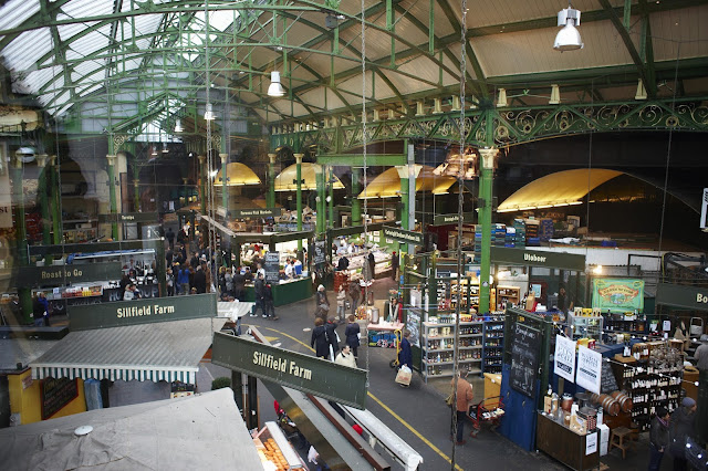 A high view of a section inside the Borough Market London