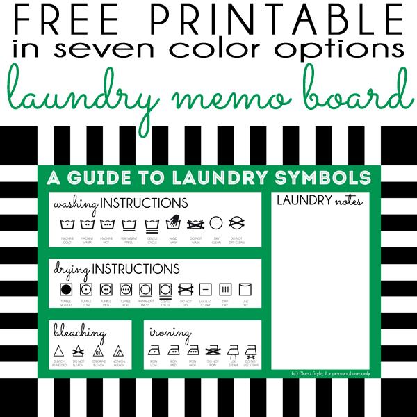 graphic regarding Laundry Symbols Printable named setting up with design and style Dry Erase Memo Board + Totally free Laundry