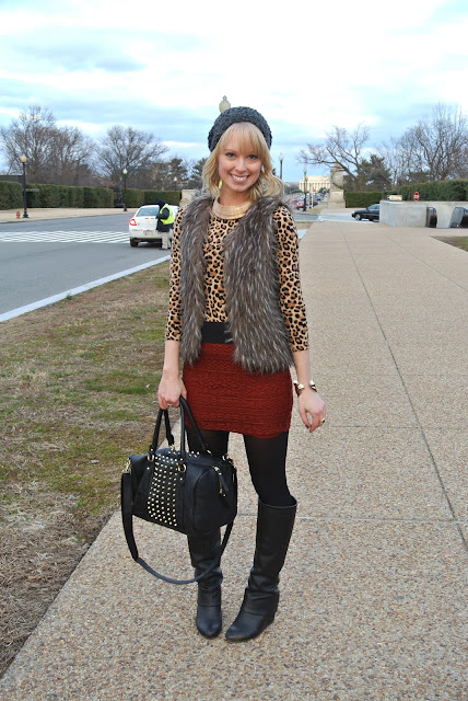 washington D.C., natural history museum, holocaust museum, arlington national cemetery, outfit ideas, fur vest, crochet skirt, beanie, knee boots