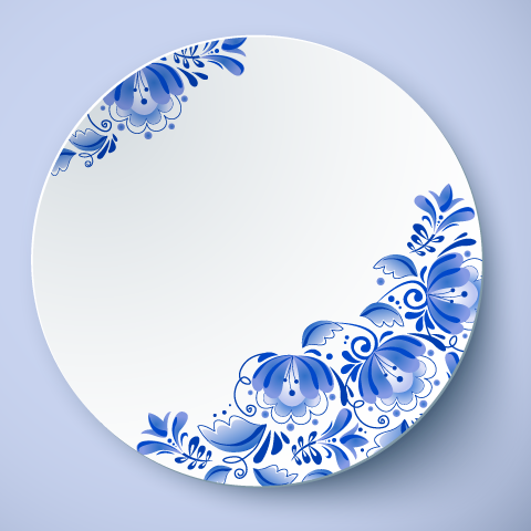 Plato de porcelana china - vector