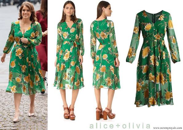 Princess Eugenie wore a Alice & Olivia Coco Floral V-Neck Dress