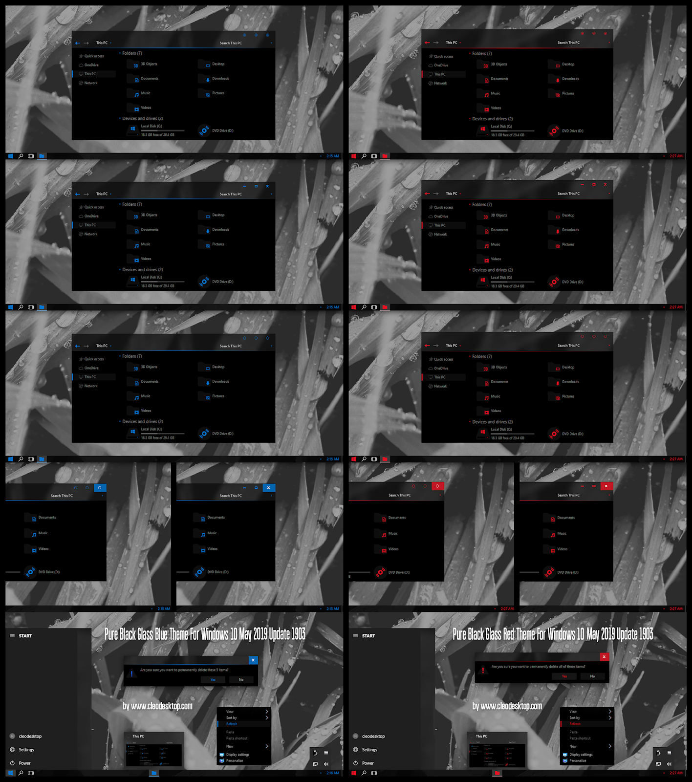 Pure Black Glass Blue and Red Theme Windows10 May 2019 Update 1903
