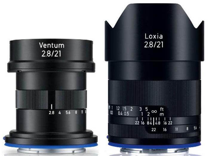 Сравнение габаритов Zeiss Ventum 21mm f/2.8 и Zeiss Loxia 21mm f/2.8