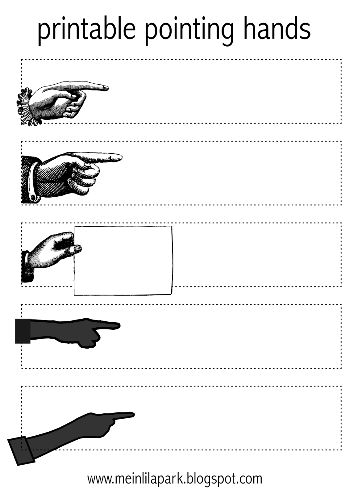 Free Printable Pointing Hands