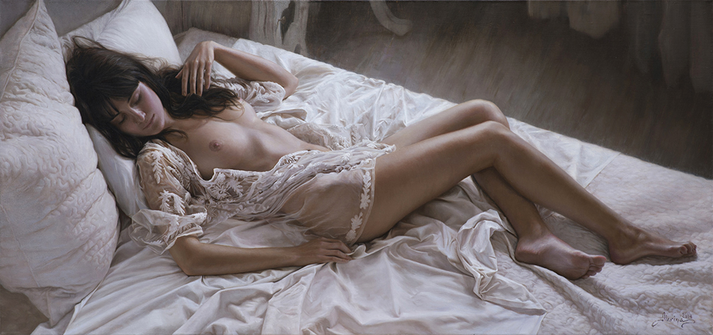 Hyperrealistic Oil Paintings by Marina Marina - Morning Dream