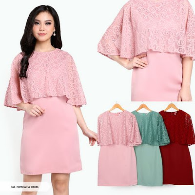 mini dress cape warna pink