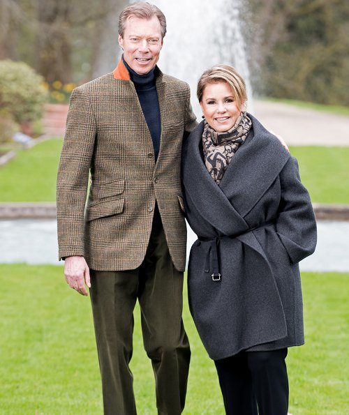 Grand Duke Henri and Grand Duchess Maria Teresa of Luxembourg. Grand Duke and Grand Duchess are shown in the gardens of one of their homes
