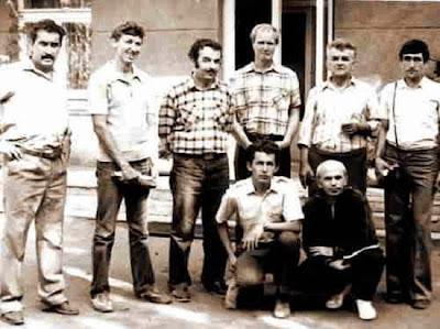 los ajedrecistas Iuri Akobia, A. Khait, S. N. Tkachenko, D. Gurgenidze, V. Kozyrev, N. Griva, I. Krikheli y N. Mansarlinski