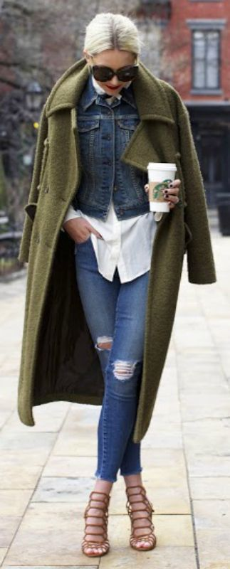olive green coat with denim and white fall fashion