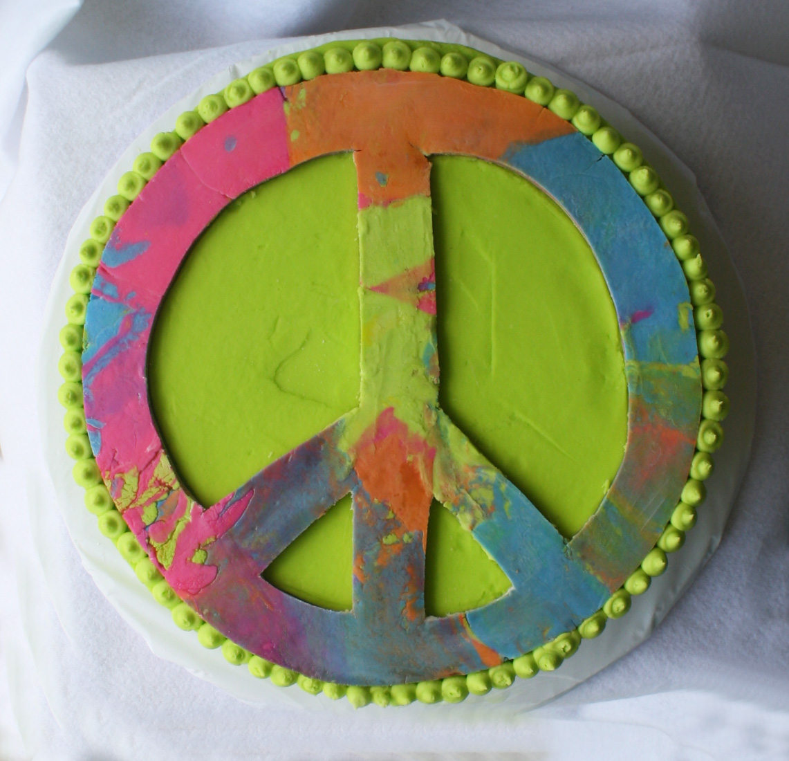 Cool Peace Sign Tie Dyed Birthday Cake With Tutorial Personalised Birthday Cards Epsylily Jamesorg
