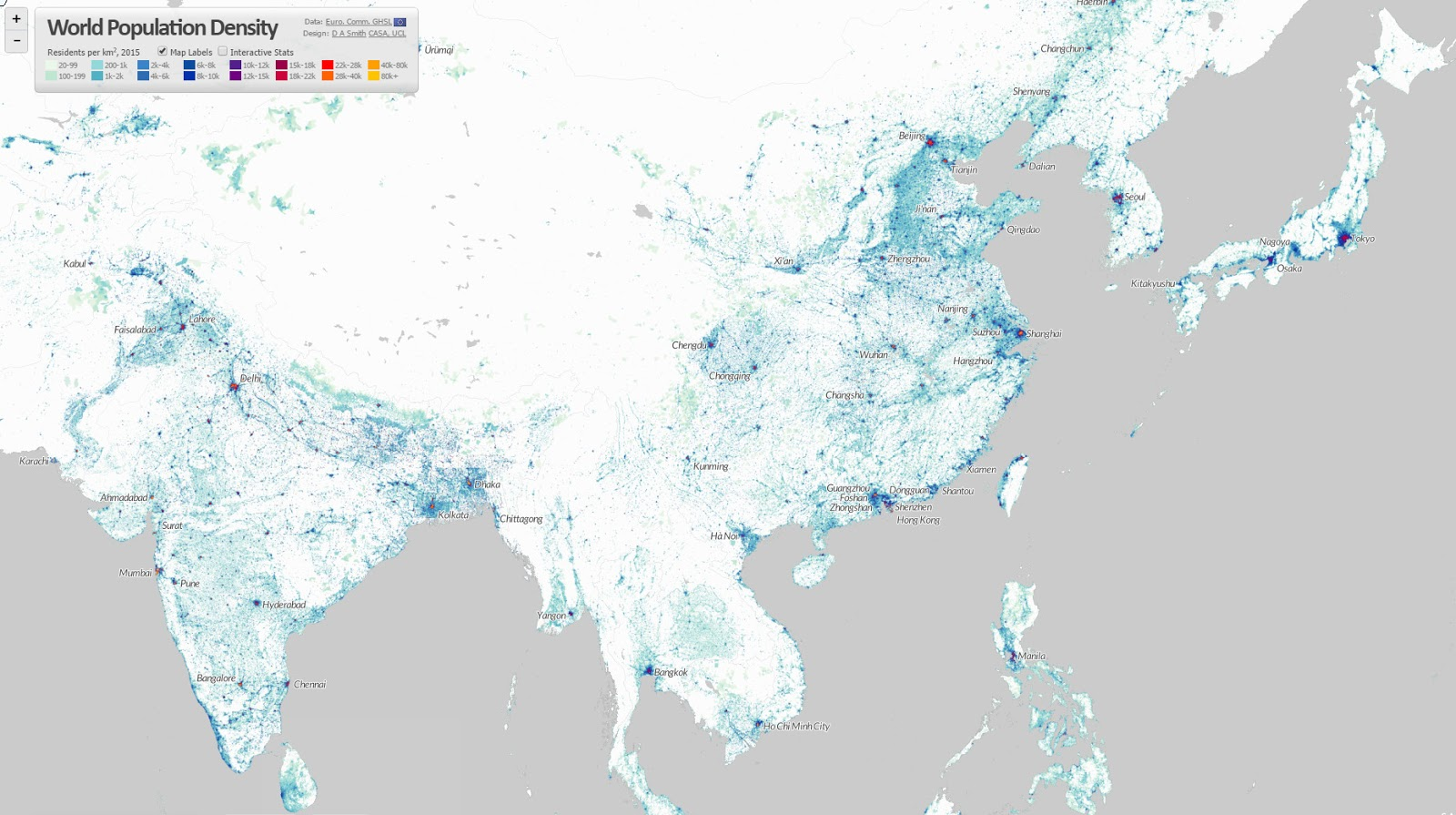 World population density (one dot per person) - China & India