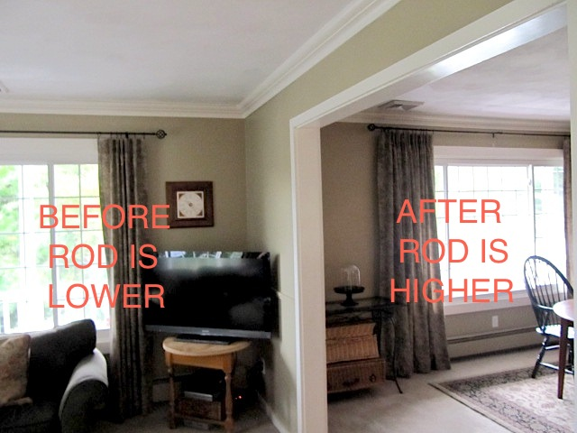Rods But This Is A Picture Of One Room On The Left Not Done And Finished Right Where Curtain Raised Up I Wanted It