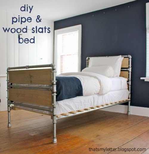 diy pipe and wood slat bed