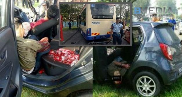 Darah mengalir macam air..Ikhwan terkulai kaku kereta rempuh bas (8Gambar)