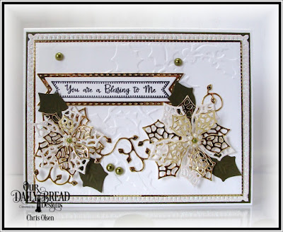 Our Daily Bread Designs, Snowflake Sky die, Merry Mosaic dies, Lovely Leaves Pennant flag dies, Pennant Flag Verses, Double Stitched Pennant Flag dies, designed by Chris Olsen