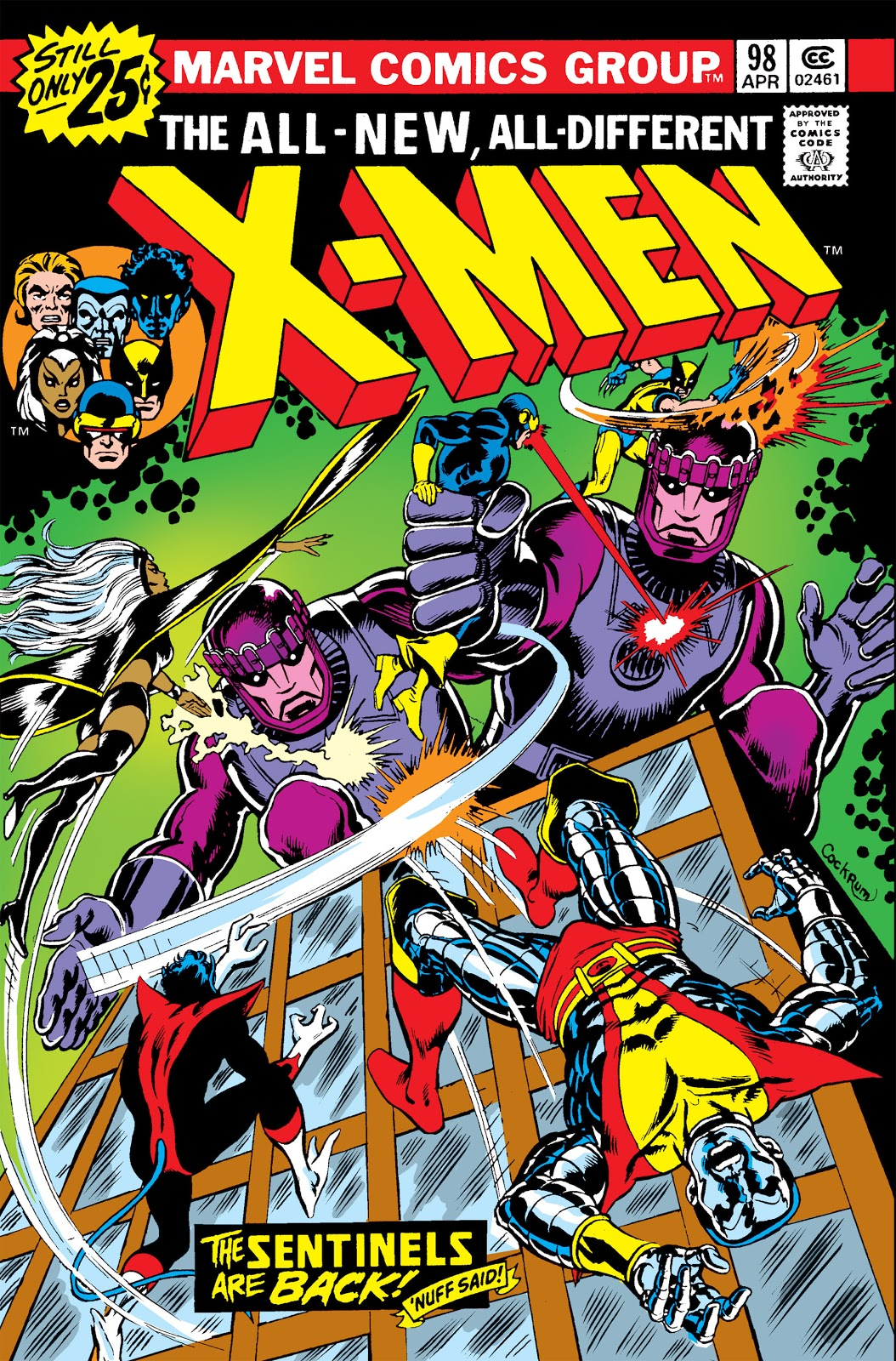 Cyclops, Storm, Wolverine, Nightcrawler, and Colossus locking in combat with two giant robots atop a building