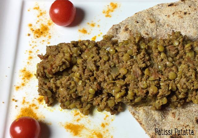 recette de curry de viande hachée et lentilles, dahl lentilles, curry de lentilles, cuisine indienne, curry de boeuf, chapati, pain indien, comment cuisiner indien, curcuma, garam massala, comment faire des chapatis,