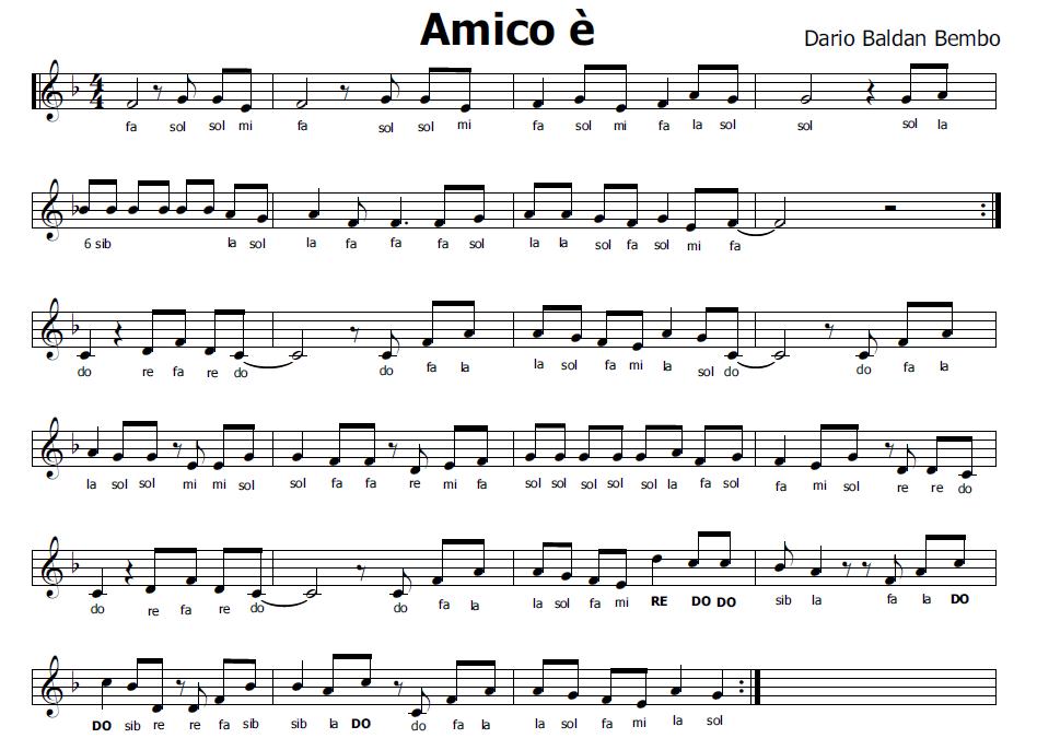 abbastanza Musica e spartiti gratis per flauto dolce: Amico è (inno dell  SZ81