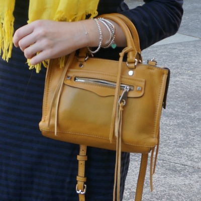 bright yellow scarf with mustard yellow rebecca minkoff micro regan bag in harvest gold | away from the blue