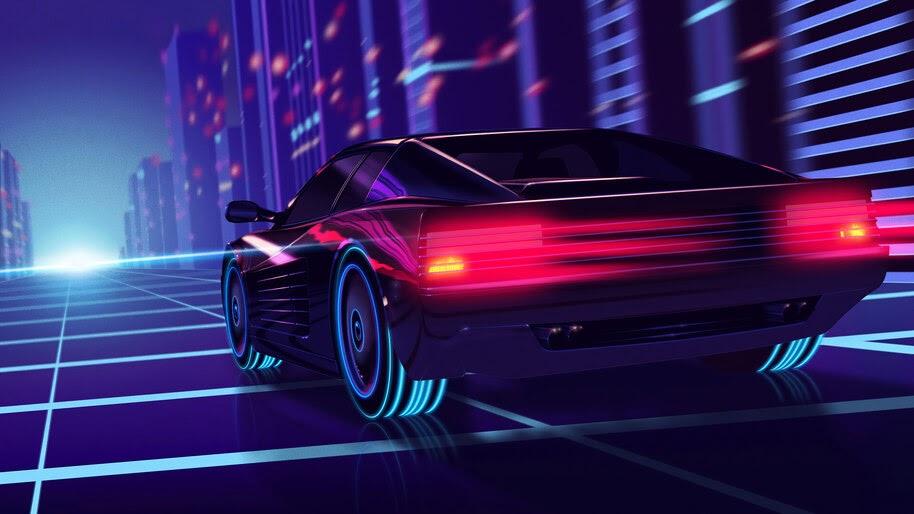 Ferrari, Car, Synthwave, 4K, #6.2174