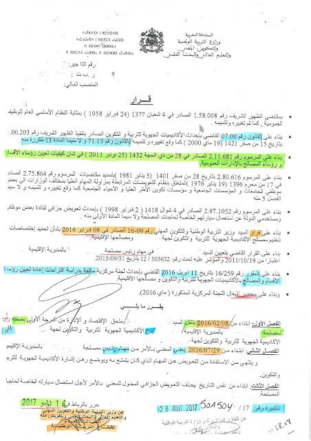 الكاتب العام يصدر قرارات باطلة والخزينة العامة للمملكة بدون رقابة على حسن تطبيق القانون وسلامة الإجراءات الإدارية ؟؟؟