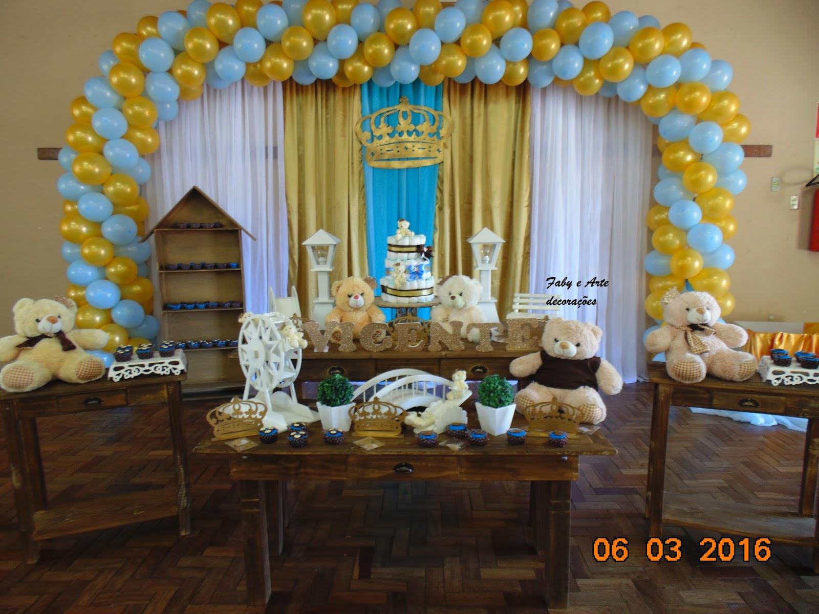 Faby Arte Decorações Decoração Chá De Bb Urso Azul E Dourado