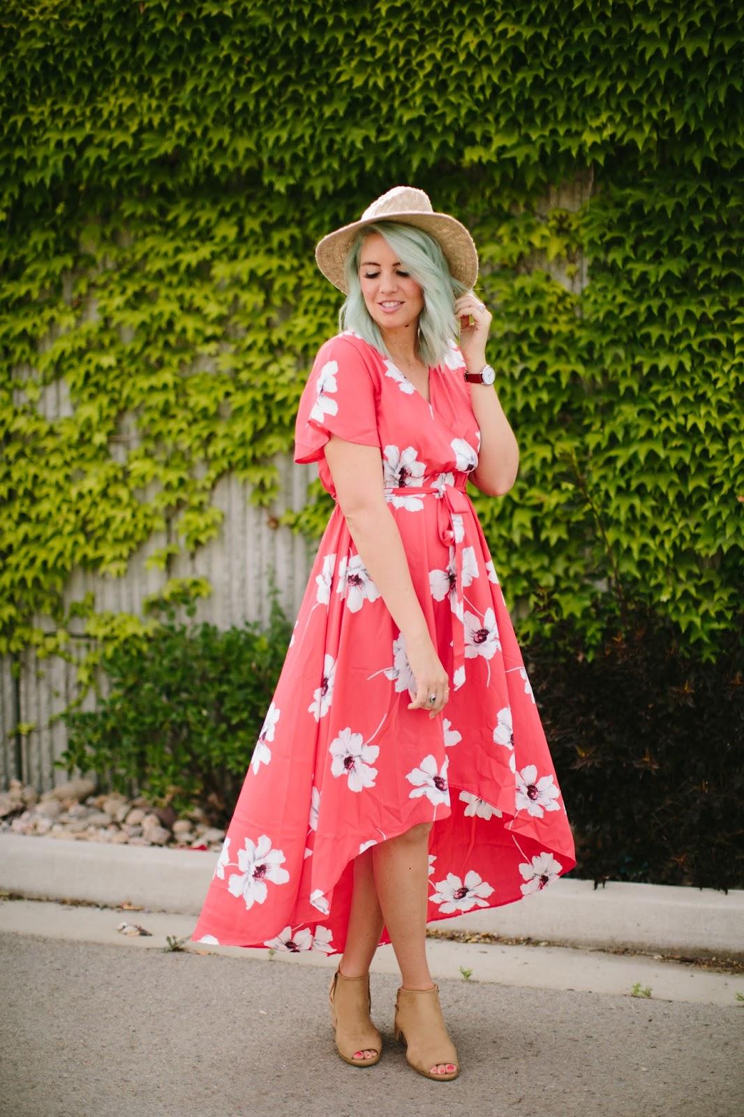 Floral Dress, Hi Low Dress, Casual Dress