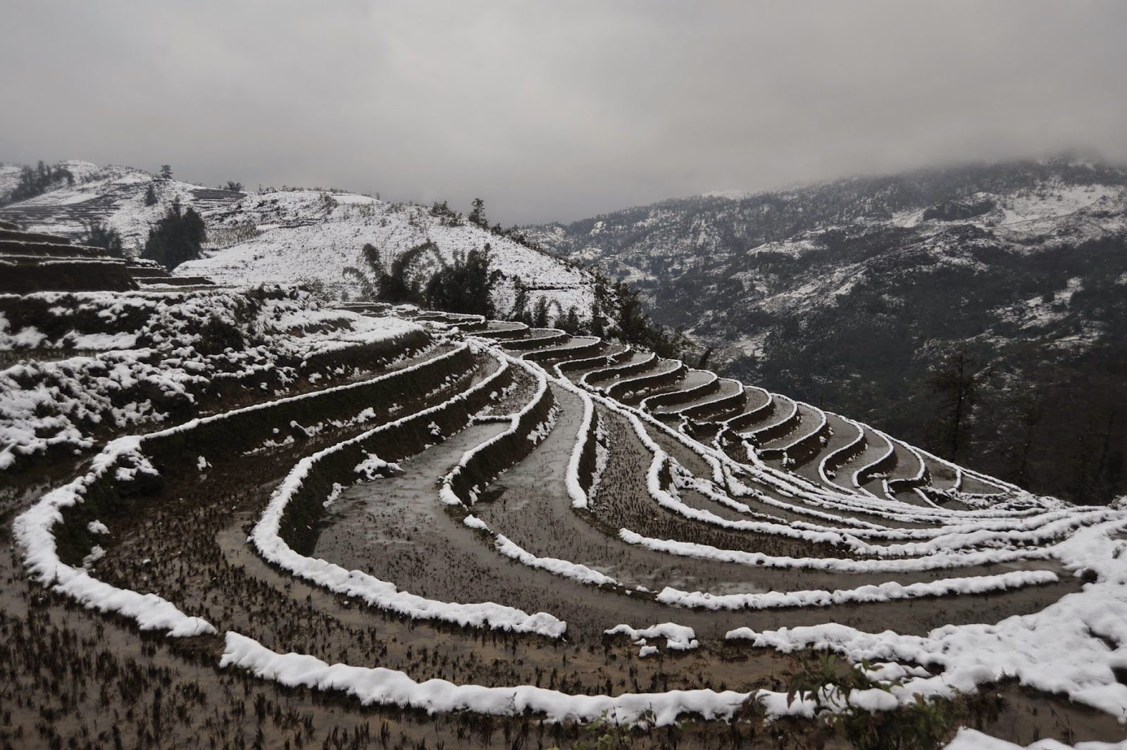 Sapa in the winter with snow