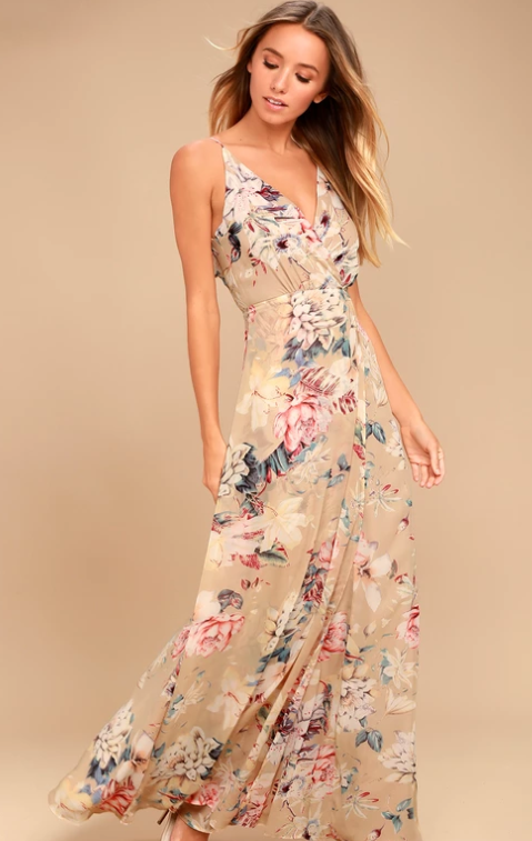 Lulus beige floral dress